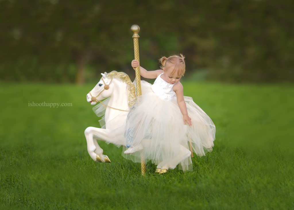 Carousel horse toddler photo session