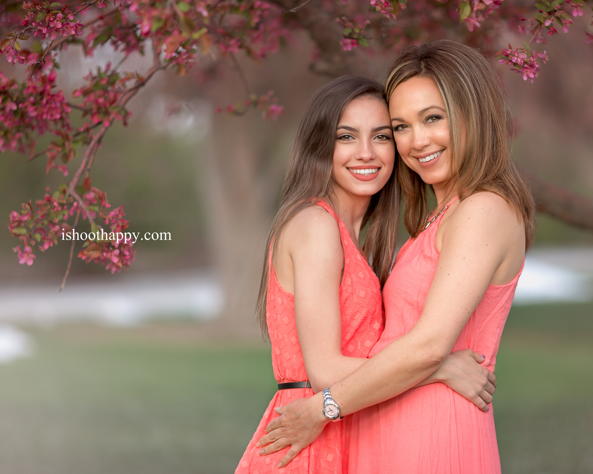 family photo, denver family photography, colorado family photographer, mother daughter, spring, pink blossoms, mothers day photo, mothers day photography, mommy and me